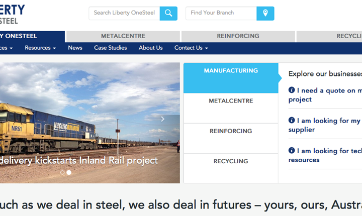 Image for New integrated website for Liberty OneSteel customers